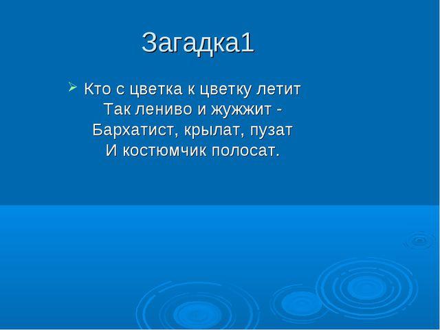 Загадка1 Кто с цветка к цветку летит Так лениво и жужжит - Бархатист, крылат,...