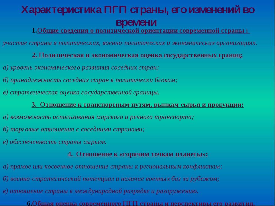 Общие сведения о политической ориентации современной страны : участие страны...