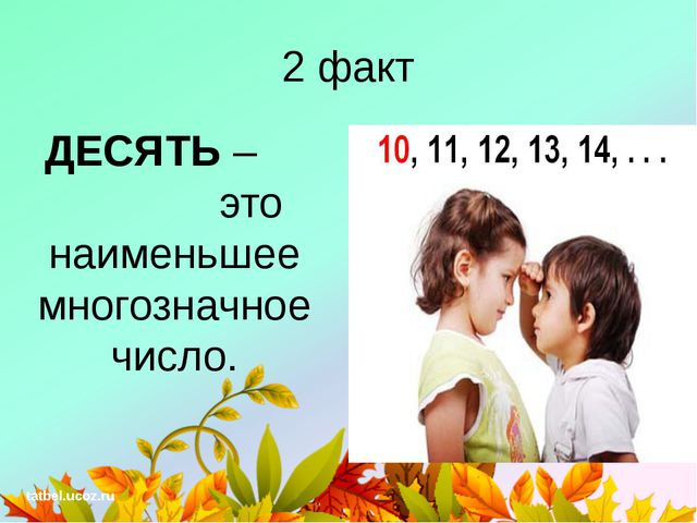 2 факт ДЕСЯТЬ – это наименьшее многозначное число. tatbel.ucoz.ru