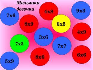 8х9 8х6 3х6 4х8 7х7 6х6 4х9 6х5 9х3 5х9 7х3 7х6 Мальчики – девочки