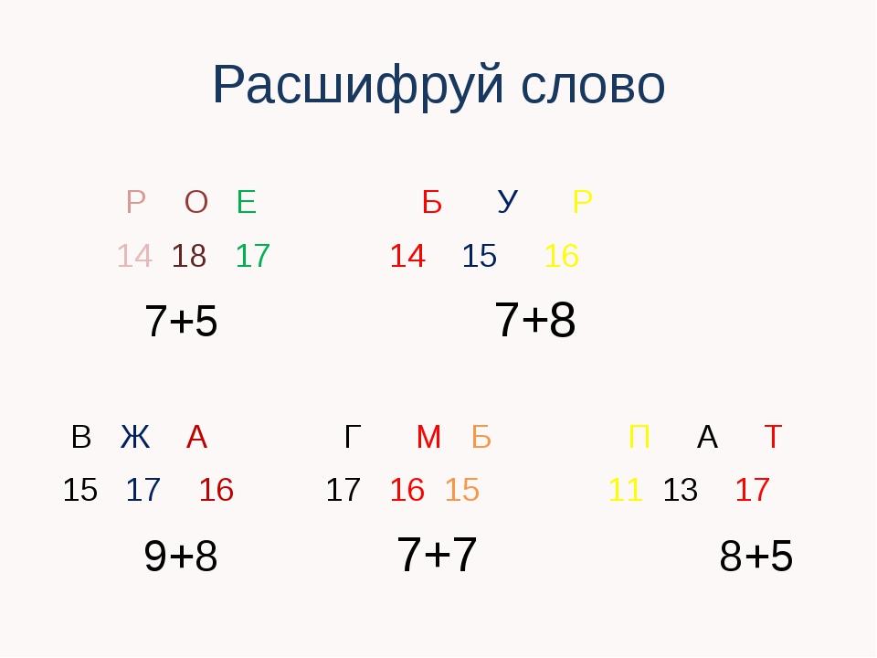 Расшифруй слово Р О Е Б У Р 14 18 17 14 15 16 7+5 7+8 В Ж А Г М Б П А Т 15 17...