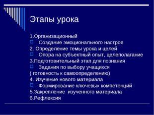 Этапы урока 1.Организационный Создание эмоционального настроя 2. Определение