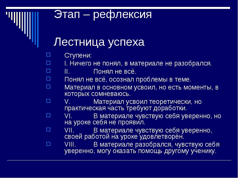 Этап – рефлексия Лестница успеха Ступени: I.Ничего не понял, в материале не...
