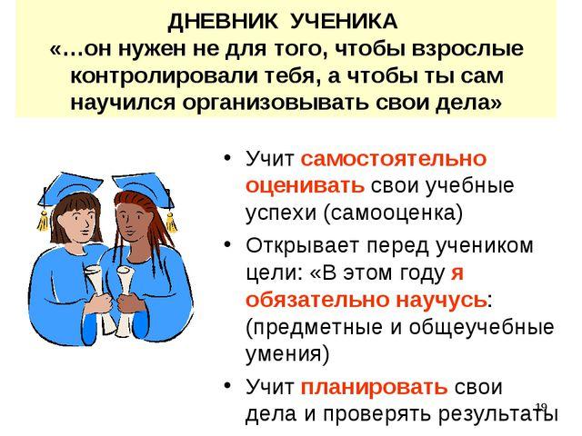 * ДНЕВНИК УЧЕНИКА «…он нужен не для того, чтобы взрослые контролировали тебя,...