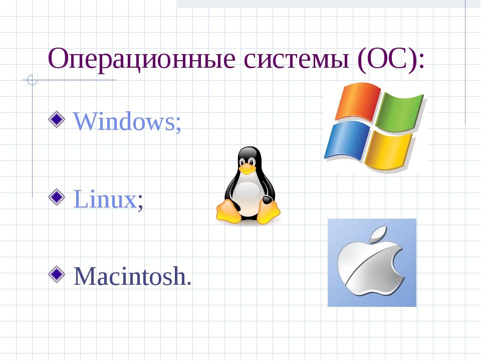 Операционные системы (ОС): Windows; Linux; Macintosh.