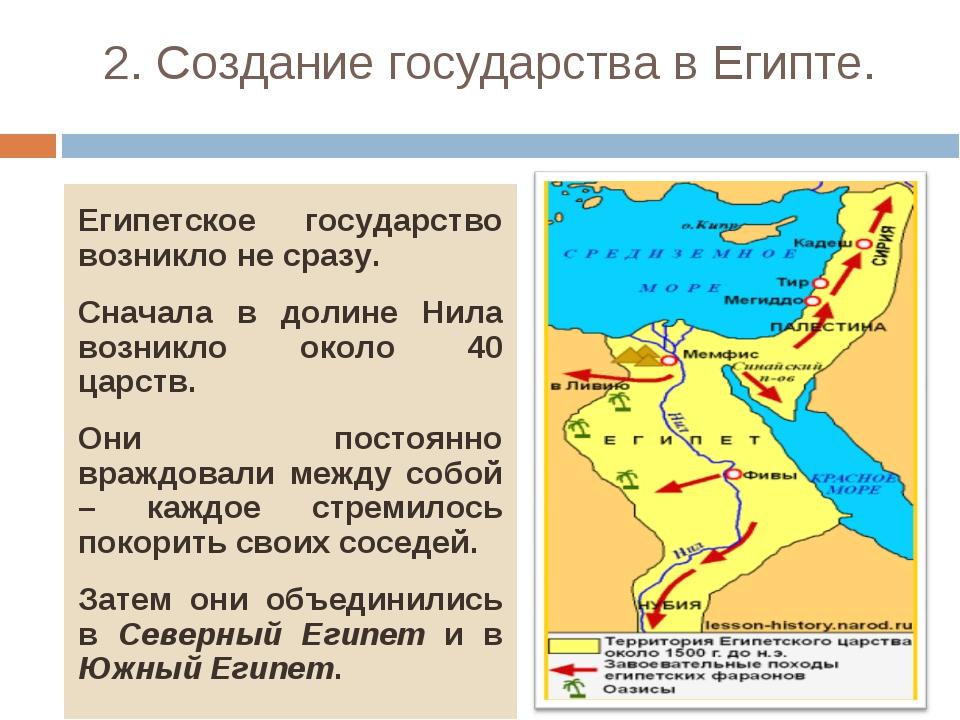 2. Создание государства в Египте. Египетское государство возникло не сразу. С...