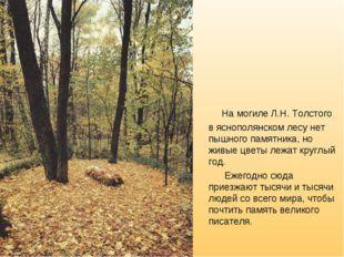 На могиле Л.Н. Толстого в яснополянском лесу нет пышного памятника, но живые