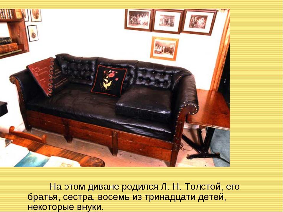 На этом диване родился Л. Н. Толстой, его братья, сестра, восемь из тринадца...