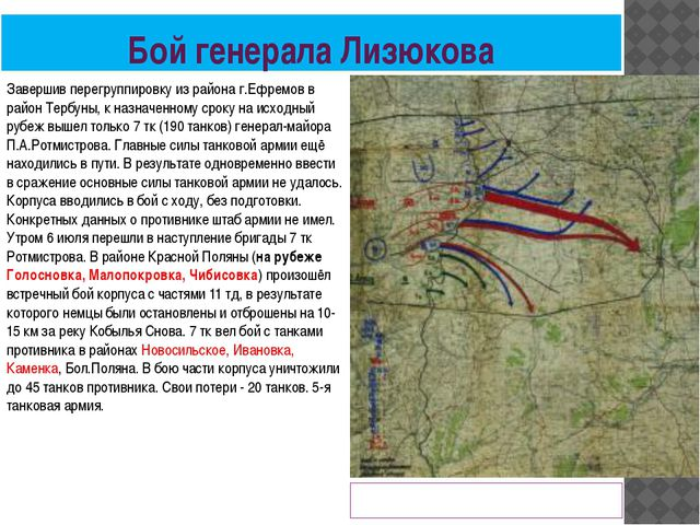 Бой генерала Лизюкова Немецкая карта развития наступления в районе Землянска...