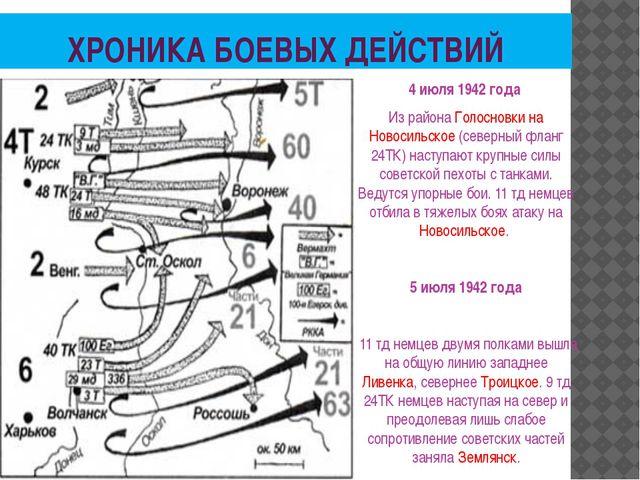 ХРОНИКА БОЕВЫХ ДЕЙСТВИЙ 4 июля 1942 года Из района Голосновки на Новосильское...