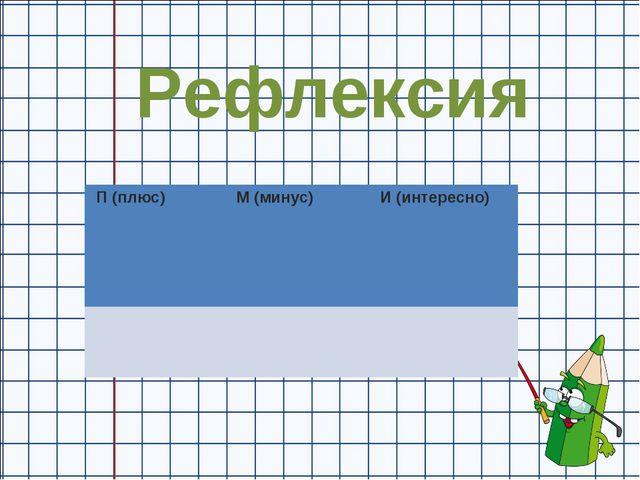 Рефлексия П (плюс) М (минус) И (интересно)