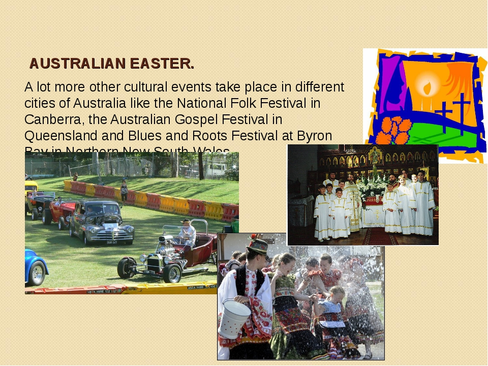 AUSTRALIAN EASTER. A lot more other cultural events take place in different c...