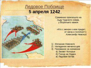 Ледовое Побоище 5 апреля 1242. «Кто с мечом к нам придет, от меча и погибнет!