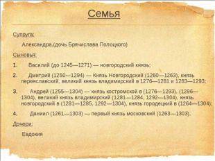 Семья Супруга: Александра,(дочь Брячислава Полоцкого) Сыновья: Василий (до 12