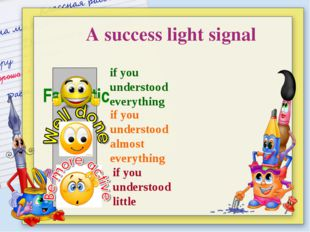 Fantastic A success light signal if you understood everything if you underst