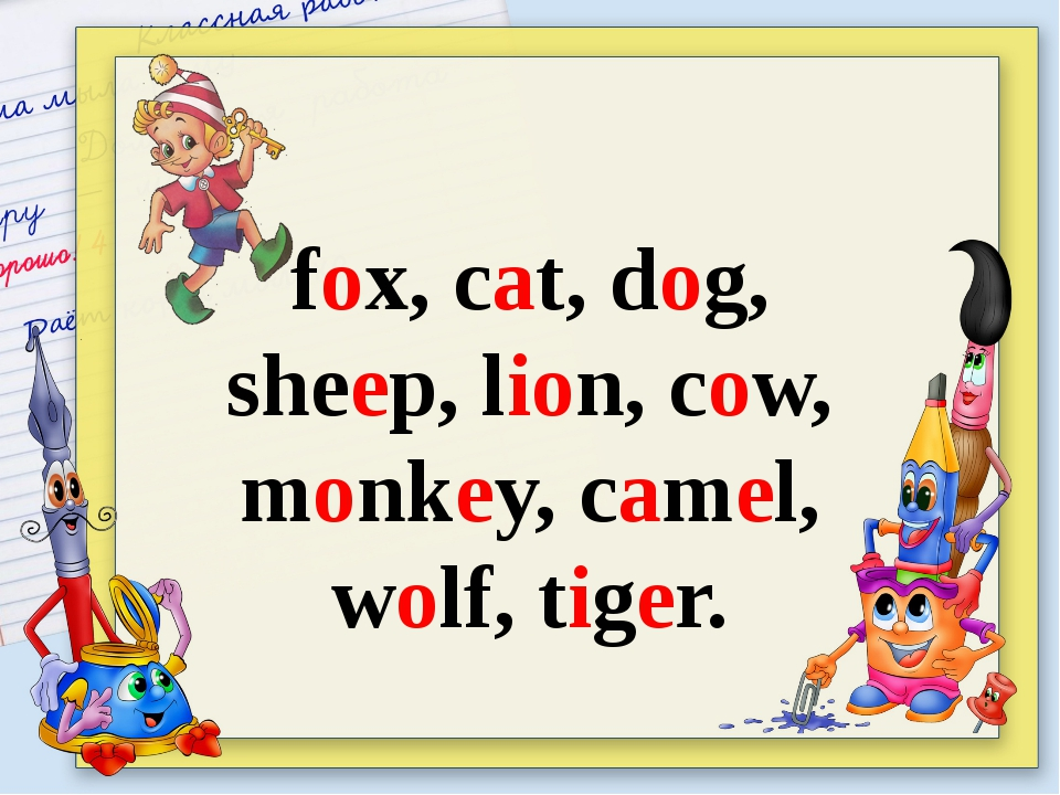 fox, сat, dog, sheep, lion, cow, monkey, camel, wolf, tiger.