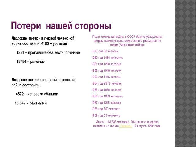 Потери нашей стороны После окончания войны в СССР были опубликованы цифры пог...