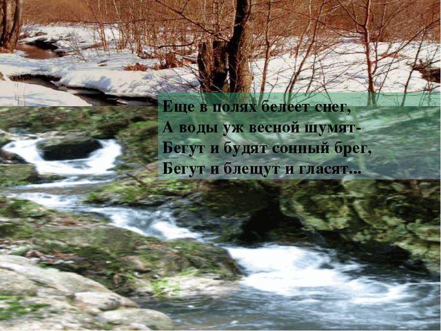 Еще в полях белеет снег, А воды уж весной шумят- Бегут и будят сонный брег,...