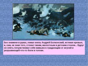 Без знамени в руках, лежал князь Андрей Болконский, истекая кровью, и, сам, н