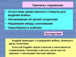 Причины поражения Андрей приходит к отрицанию войны, военного дела, политики.