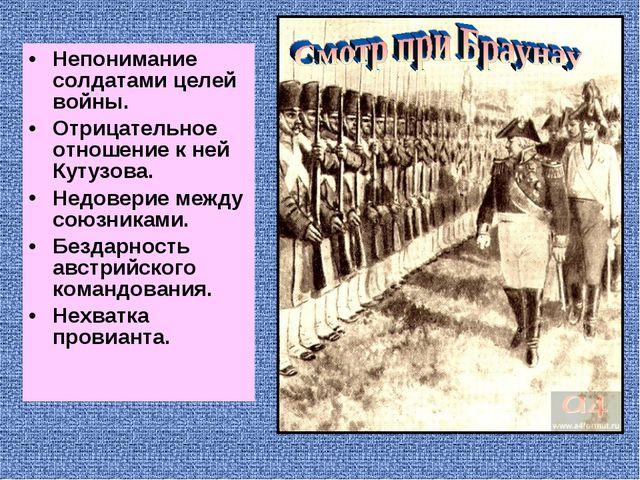 Непонимание солдатами целей войны. Отрицательное отношение к ней Кутузова. Не...