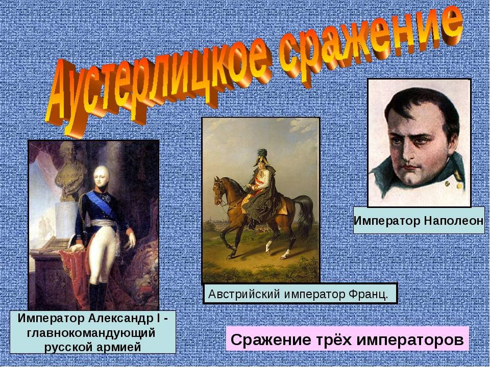 Сражение трёх императоров Император Александр I - главнокомандующий русской а...