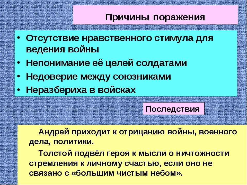 Причины поражения Андрей приходит к отрицанию войны, военного дела, политики....