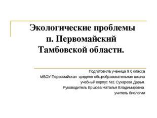 Экологические проблемы п. Первомайский Тамбовской области. Подготовила учени