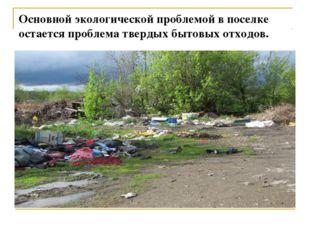 Основной экологической проблемой в поселке остается проблема твердых бытовых