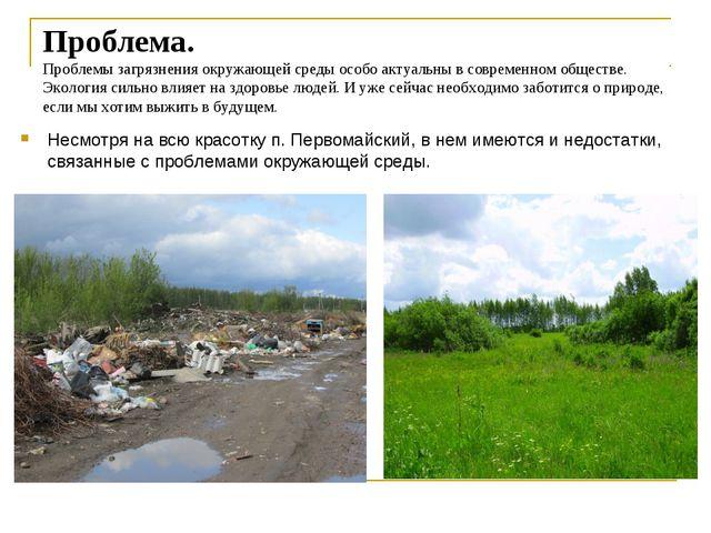 Проблема. Проблемы загрязнения окружающей среды особо актуальны в современном...