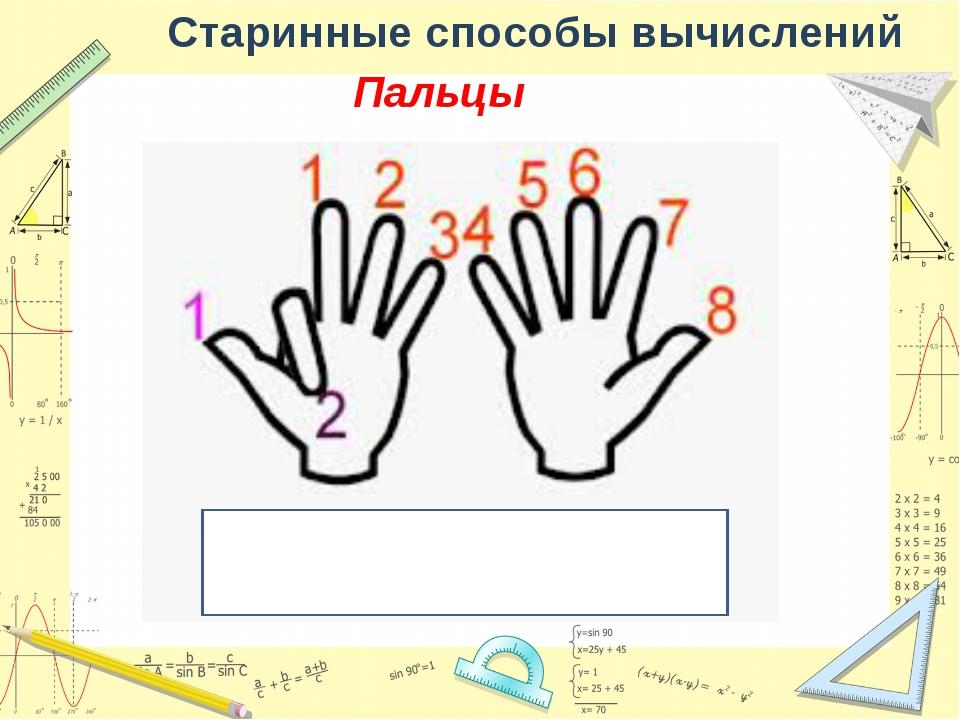 Старинные способы вычислений Пальцы 8*9=72