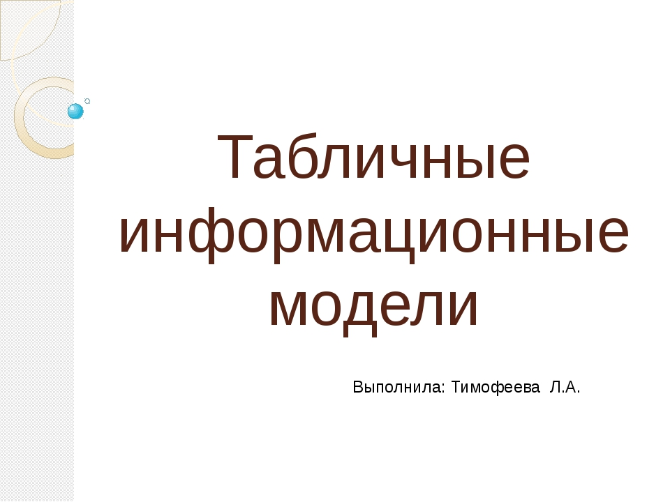 Табличные информационные модели Выполнила: Тимофеева Л.А.
