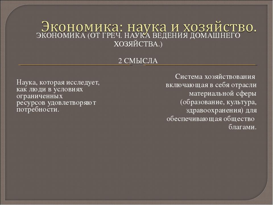 ЭКОНОМИКА (ОТ ГРЕЧ. НАУКА ВЕДЕНИЯ ДОМАШНЕГО ХОЗЯЙСТВА.) 2 СМЫСЛА Наука, котор...
