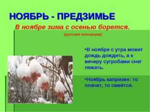 НОЯБРЬ - ПРЕДЗИМЬЕ В ноябре зима с осенью борется. (русская поговорка) В нояб