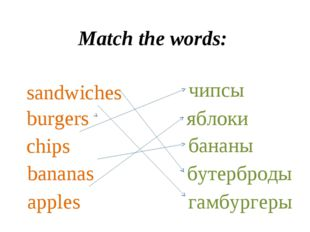 Match the words: sandwiches chips bananas apples burgers чипсы бананы яблоки