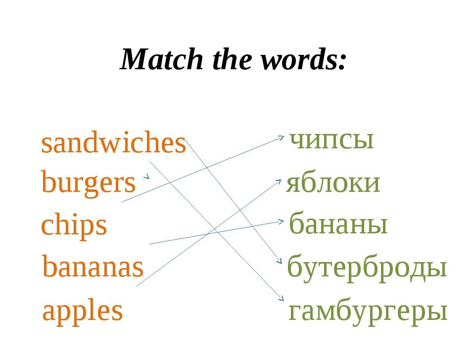 Match the words: sandwiches chips bananas apples burgers чипсы бананы яблоки...