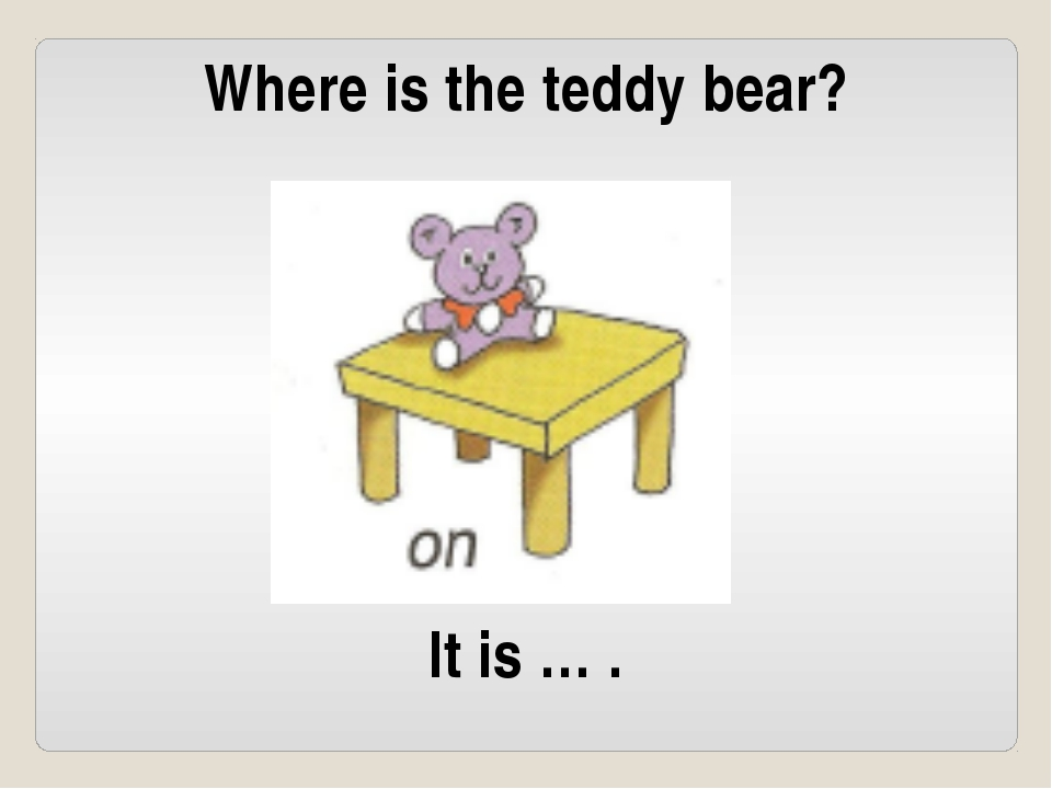 Where is the teddy bear? It is … .