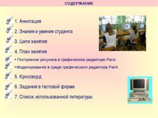 1. Аннотация 2. Знания и умения студента 3. Цели занятия 4. План занятия Пост