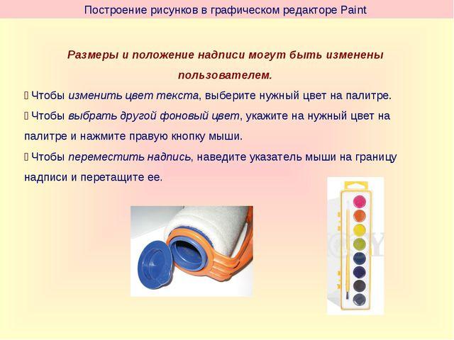 Построение рисунков в графическом редакторе Paint Размеры и положение надписи...