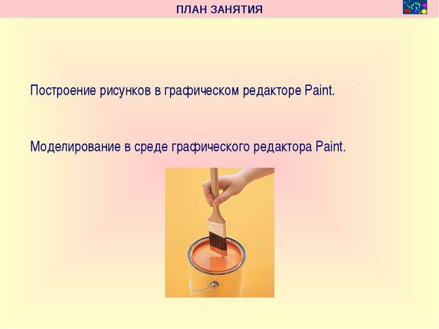 ПЛАН ЗАНЯТИЯ Построение рисунков в графическом редакторе Paint. Моделировани...