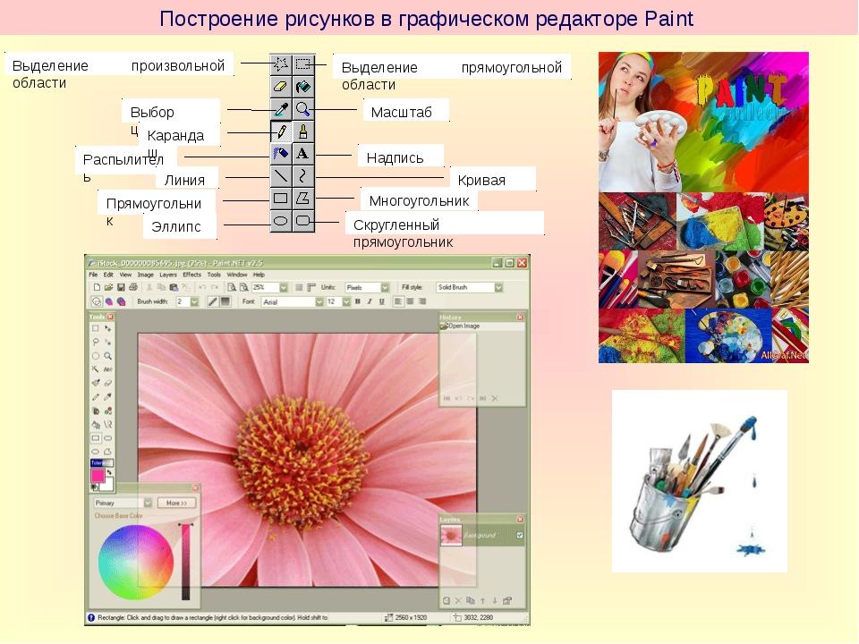 Построение рисунков в графическом редакторе Paint Распылитель Линия Прямоугол...