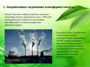 1. Антропогенное загрязнение атмосферного воздуха Анализ динамики выбросов вр