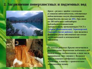 2. Загрязнение поверхностных и подземных вод Крым – регион с крайне сложными