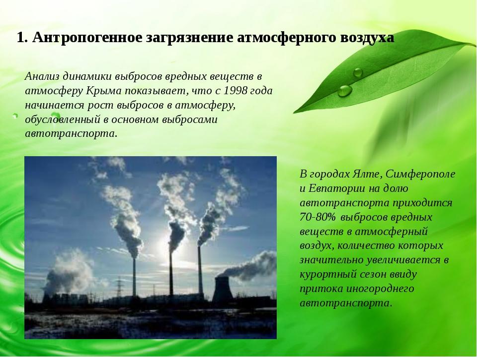 1. Антропогенное загрязнение атмосферного воздуха Анализ динамики выбросов вр...