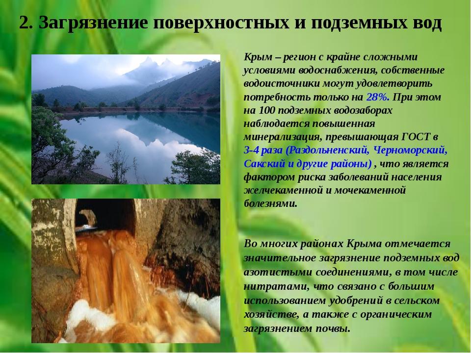 2. Загрязнение поверхностных и подземных вод Крым – регион с крайне сложными...