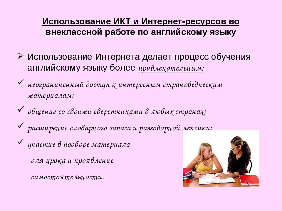 Использование ИКТ и Интернет-ресурсов во внеклассной работе по английскому яз...
