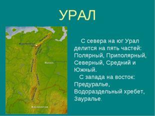 УРАЛ С севера на юг Урал делится на пять частей: Полярный, Приполярный, Север