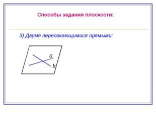 Способы задания плоскости: 3) Двумя пересекающимися прямыми: b