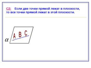 С2: Если две точки прямой лежат в плоскости, то все точки прямой лежат в этой