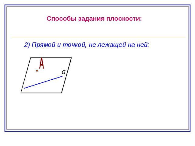 Способы задания плоскости: 2) Прямой и точкой, не лежащей на ней: